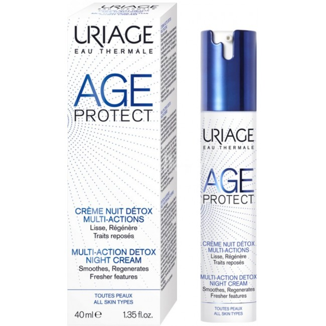 Cremă de noapte Anti-aging Detox, Age Protect Uriage, 40 ml