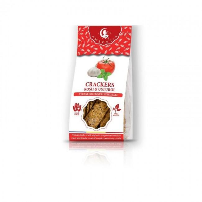Crackers vegani cu rosii si usturoi, Ambrozia, 125g