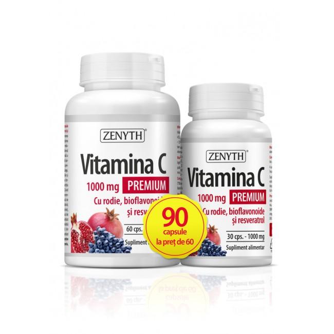 Vitamina C Premium cu rodie 1000 mg, 60+30 capsule, Zenyth