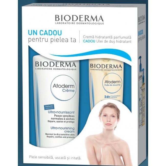 BIODERMA ATODERM Crema Hidratanta parfumata 500ml + Ulei de dus hidratant 200ml CADOU
